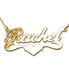 gold Name Necklace - Rachel with Middle Heart