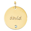 posh mommy gold 19mm disc pendant with birthstone