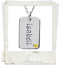 posh mommy engraved mini dog tag with birthstone