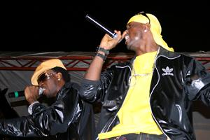 P-Square performing at Akon's show recently in Kampala