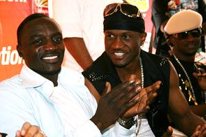 Akon with P-Square in Kampala